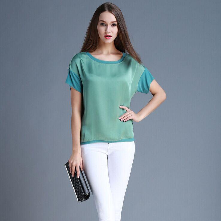 Summer Women Blouses 2015 Casual Chiffon Silk Blouse Loose Slim Women's shirts Short Sleeve O-neck Blusa Feminina Tops Shirts(China (Mainland))