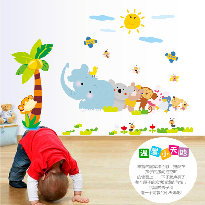 Removable Animal Wall Art Sticker Home Decor Wall Decals Wallstickers Interiors Decoration Bedroom Bathroom Accessories For Kids(China (Mainland))