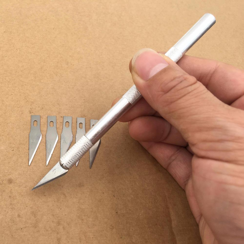 6 Blades Wood Carving Tools Fruit Food Craft Sculpture Engraving Knife Scalpel DIY Carving Cutting Tools PCB Repair Art Knife