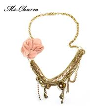 3 Colors ClothFlowers Simulated-pearl Rhinestone Tassel Long Necklace Women Fashion Jewelry Statement Multi-Layer Necklaces