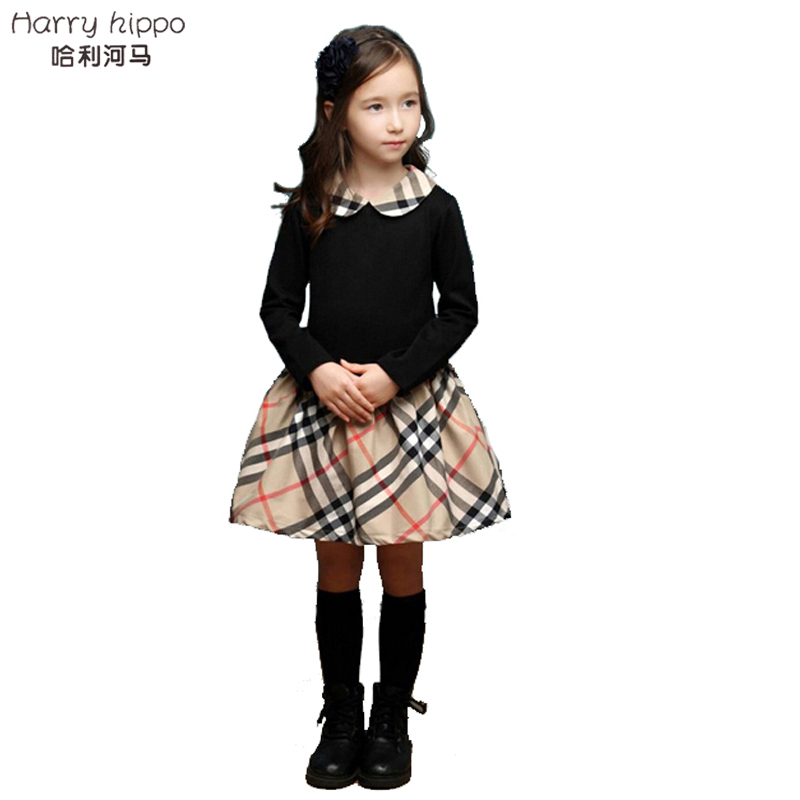 Baby Girls Children's Clothing European And American Classic Plaid Spell Color Girls Pretty Dress BD0202(China (Mainland))