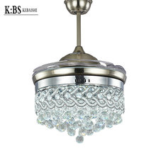 Lnvisible Fan Light Simple Fashion LED Crystal Living Room Fan Lamp Remote Control 36 inch Specifications Fan Pendant Lamp(China (Mainland))