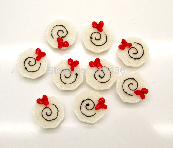 Resin Crafts 20Pcs Red Flower White Cup Cake Kawaii Cabochon Resin Scrapbooking DIY Home Decoration Crafts 17mm Free Shipping !(China (Mainland))