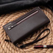Hot New Brand Design zipper Fashion black genuine leather men wallets long casual brown purse cartera
