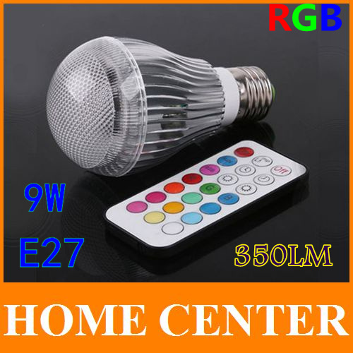 350LM RGB led lighting Colorful 9W E27 LED Bulb Lamp with Remote Control Free shipping<br>