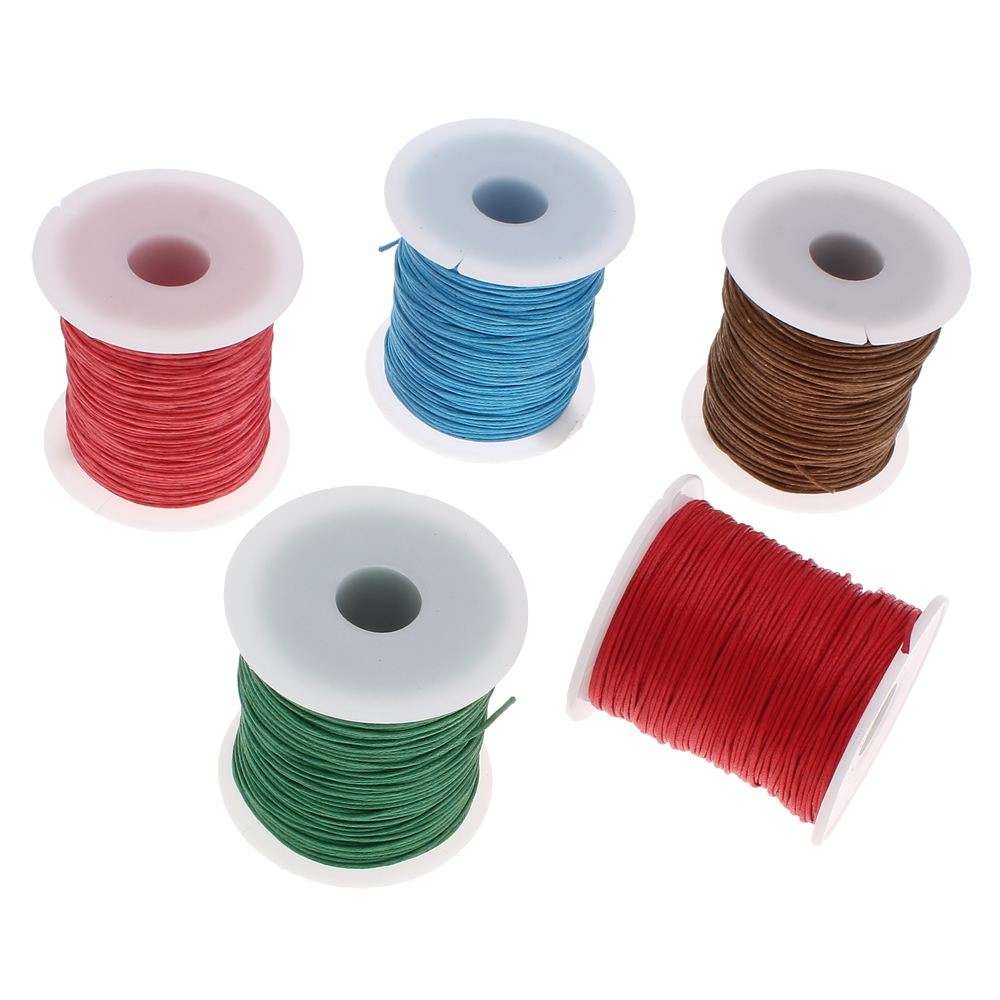 19 Color 100Yards Spool 1MM Waxed Cotton Cord Thread Cord Plastic String Strap DIY Rope Bead Necklace Shamballa Bracelet Making(China (Mainland))