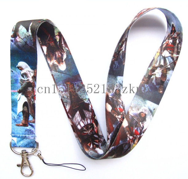 50 Pcs Popular Assassin`s Creed Neck mobile Phone lanyard Keychain straps charms Gifts(China (Mainland))
