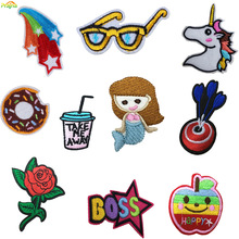 Fashion Design Fruit Unicorn Patch Food Cheap Embroidered Cute Patches Rainbow Iron On Kids Cartoon Patches For Clothes Stickers(China (Mainland))