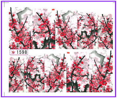 1X Nail Sticker Plum Flower Water Transfers Stickers Nail Decals Stickers Water Decal Opp Sleeve Packing SY1598(China (Mainland))