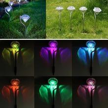 4 unids/lote lámpara del césped Gorgeous acero inoxidable Color Solar cambiante diamante estaca luces camino de jardín linternas lámparas(China (Mainland))