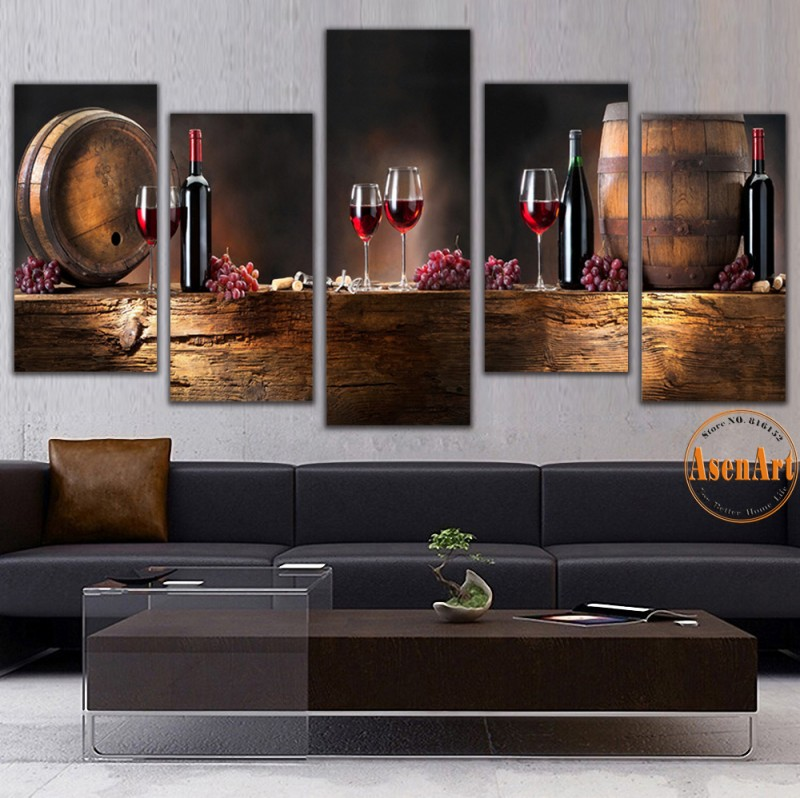5 Panel Wall Art Fruit Grape Red Wine Glass Picture Art for Kitchen Bar Wall Decor Canvas Prints Wall Paintings Unframed(China (Mainland))