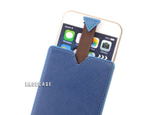 A3 EASECASE Custom-Made Leather Sleeve Holder Case for Apple iPhone 6 Plus iPhone6 Color Block Blue