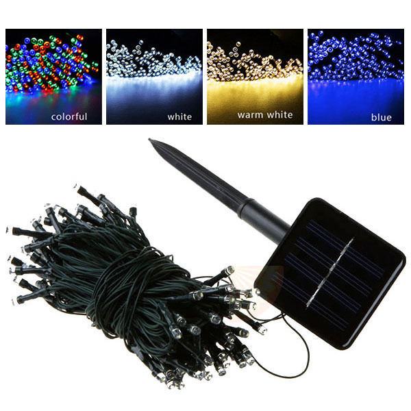 100 leds Blue White Yellow Multicolor Outdoor Solar Led String Fairy Light Christmas Strip Lights Garden Night Lamp(China (Mainland))