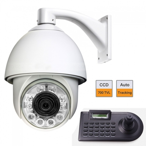"6"" Auto Tracking Speed Dome CCD 700TVL IR PTZ Camera w/ Joystick Keyboard Controller(China (Mainland))"