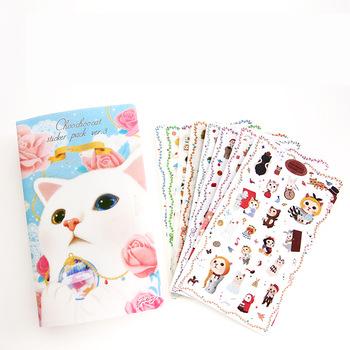 R32 8 Sheets /Pack Cute Kawaii Cat DIY Stickers Decorative Stickers Scrapbooking DIY Diary Album Stick Label Decor Craft
