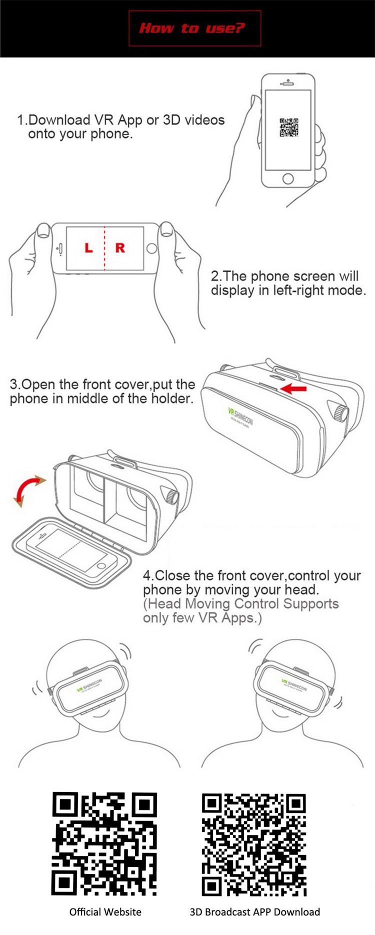 ถูก VR Shineconรุ่นProความจริงเสมือนแว่นตา3DชุดหูฟังหัวเมาGoogleกระดาษแข็งภาพยนตร์เกมสำหรับ4-6นิ้วโทรศัพท์+ระยะไกล