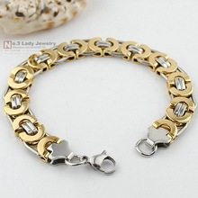 Men Bracelet, Silver & Gold Stainless Steel Flat Byzantine Chain bracelet for Christmas gift, Hip Hop Jewelry, 4 colors, WB150(China (Mainland))