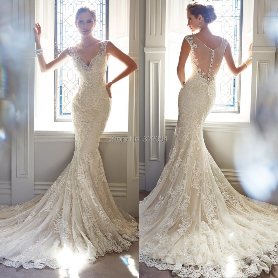 Most beautiful v neck mermaid wedding dress 2015 court for Most sexy wedding dresses