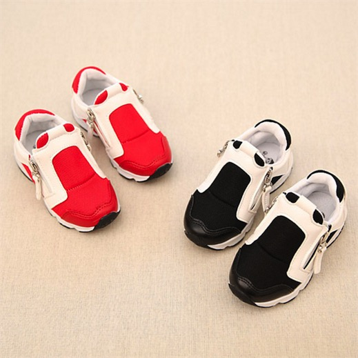 2016 Kids Children Sports Shoes Patchwork Design Zipper Fashion Shoes Red and Black Color Sneakers<br>