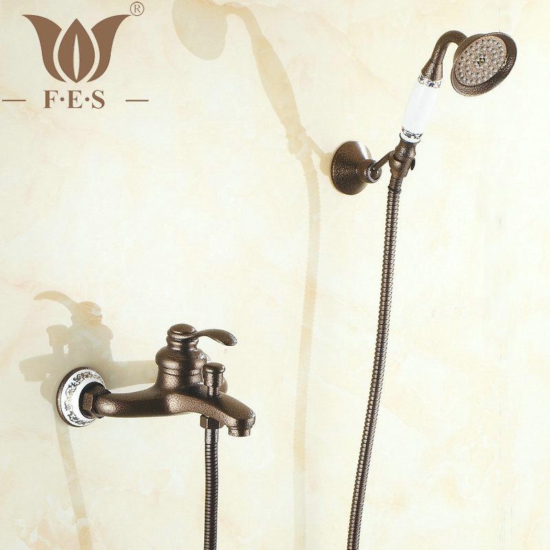 Фотография 2 Way Wall Mounted Roman Bronze Brass Bath Faucets Bathroom Basin Mixer Tap Ceramic Crane With Hand Shower Head Shower Faucet