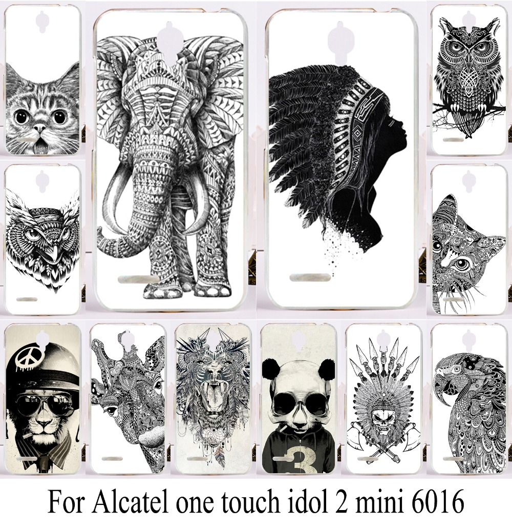 Hard Plastic Phone Back Cover For alcatel one touch idol 2 mini Case 6016 6016d 6016a 6016e White and Black Animal Phone Case(China (Mainland))