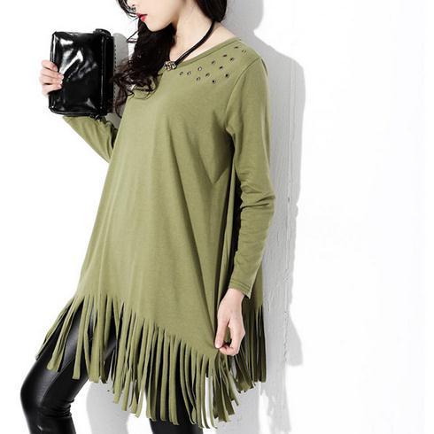 2016 long sleeve hot cozy halter t shirt women Cheap clothing briefs autumn sexy tops tee Vetement clothes Rivet Top Tassel Y619(China (Mainland))