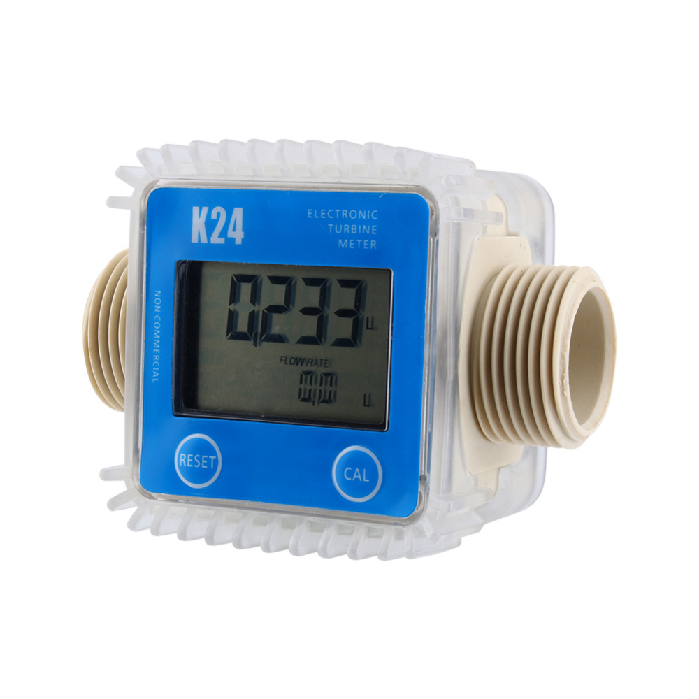 New K24 LCD Turbine Digital Diesel Fuel Flow Meter for Chemicals Water Sea Adjust Color Blue(China (Mainland))