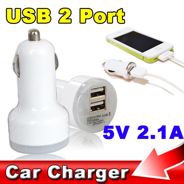 2 Pcs Auto Universal Dual USB Port Car Charger Adapter 2 USB Socket Voltage 5V 2A 1A For iPhone Samsung Ipad Mini High Quality(China (Mainland))