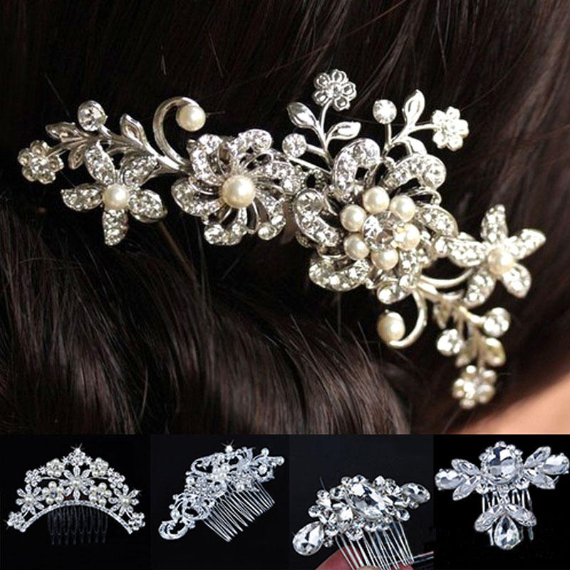 New Fashion Charm Bridal Wedding Flower Crystal Rhinestones Pearls Women Hair Clip Comb Bridesmaid Jewelry 5 Styles(China (Mainland))