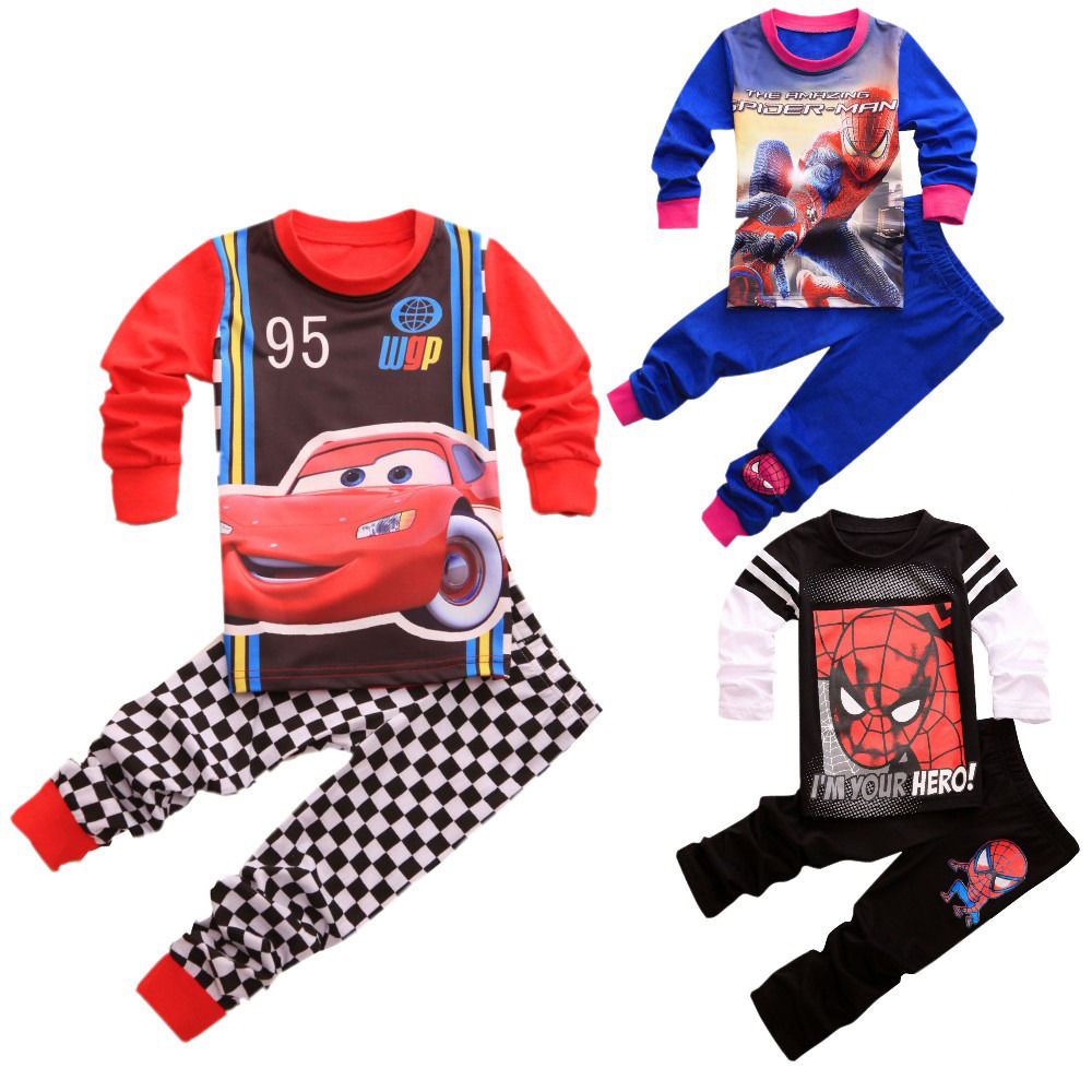 2016 Newest Cartoon Spider-man Cars Printed Lone Sleeve Baby Kids Boys Home-wear Sleepwear Pajamas Set AU 1-7Y(China (Mainland))