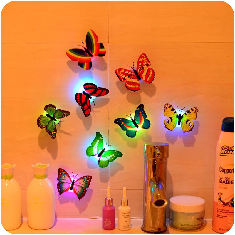 Гаджет  Butterfly LED Night Light Cute Chuck Stickers Wall Lamp Party  Wall Lamp  Bedroom Decoration Christmas None Свет и освещение