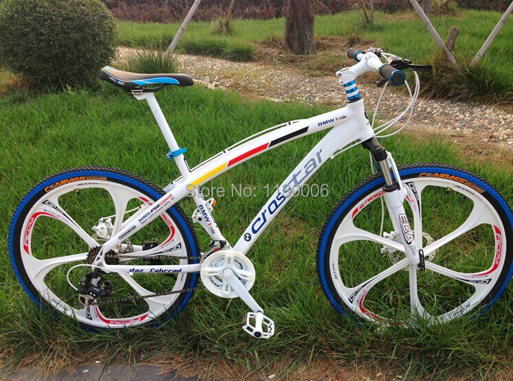 Hot sale 26 inch 21 speed white rainbow mountain bike road bikes double disc brake MTB bicycle(China (Mainland))