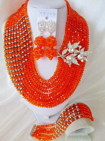 2015 luxury  Orange african crystal beads necklace set nigerian wedding african beads jewelry set Free shipping P-374<br><br>Aliexpress
