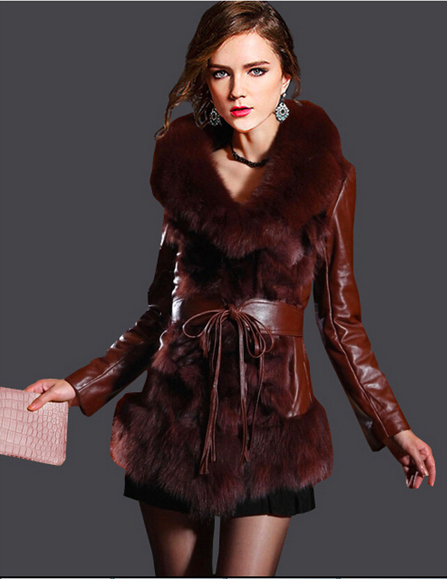 Hot sale 2015 European style women motorcycle leather jacket winter women slim-fitting Fur jacket plus size warm leather coat