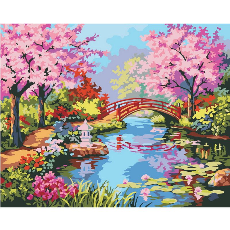 1Set Frameless Diy Digital Oil Painting by numbers Spring in the South Yangtze Home Wall Decor Frameless Canvas(China (Mainland))
