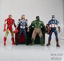 "Big Action Figures 4pcs/Set 20CM=8"" Avengers Toys Moveable Joint Thor Captain America Iron Man Hulk Marvel Dolls For Boys Fans"