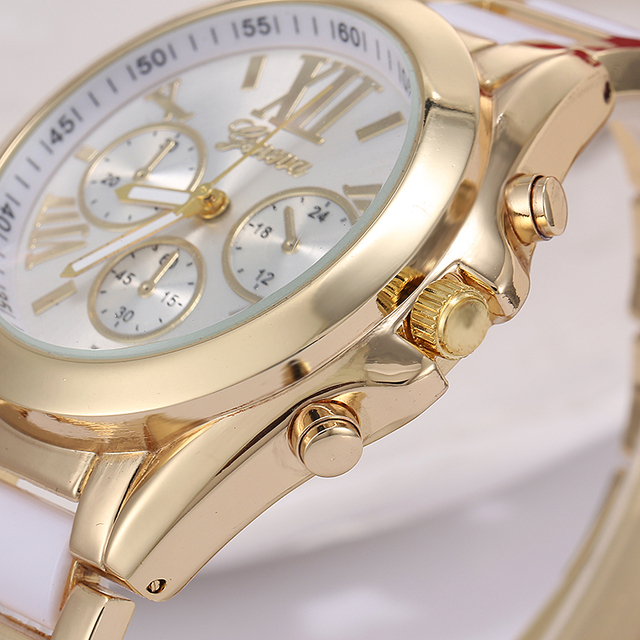 Zegarek damski GENEVA casualowy przeplatana bransoleta różne kolory