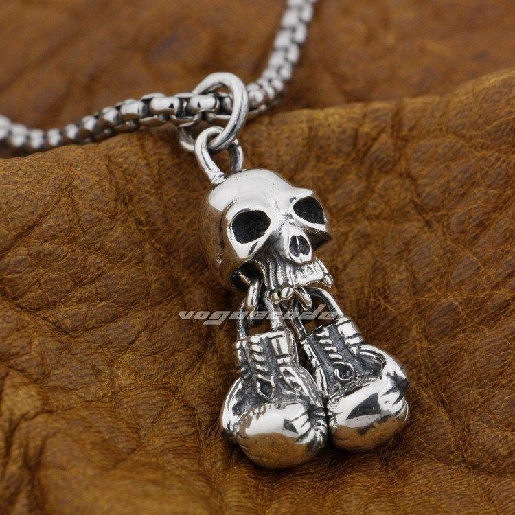 925 Sterling Silver Boxing Gloves Skeleton Skull Mens Biker Rocker Pendant 9E004(Necklace 24inch) - voguecode store