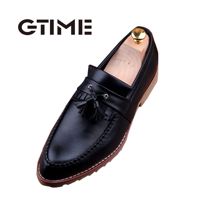 GTIME Men Fashion Casual Business Shoes PU Leather Tassel Slip On Flat Shoes High Quality Men Loafers Size 38-43 #GU392(China (Mainland))