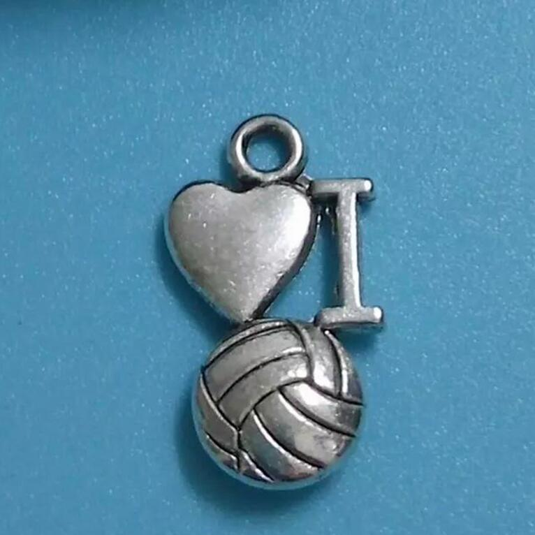 50pcs Fashion Antique Silver love volleyball Pendant Bracelets Necklace Jewelry Accessories Free