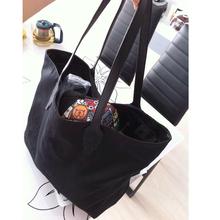Large Black Canvas women's Shoulder bags soft cloth female shopping bag big female shopper bag beach handbag high quality(China (Mainland))