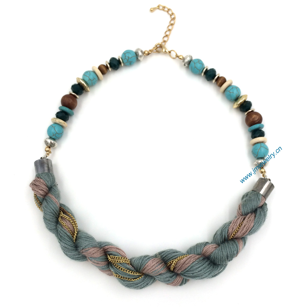 2016 new fashion jewelry handmade beaded silk necklace
