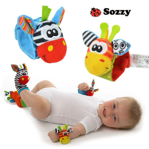 Free Shipping 2014 New A Pair Sozzy Baby Infant Soft Toy Wrist Rattles Finders Developmental(China (Mainland))