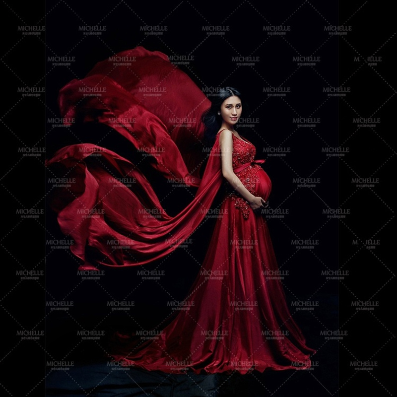 Фотография Fancy Pregnancy Photo Shoot Studio Clothing V-Neck Red Maternity Dress Pregnant Photography Props Maternity Gown Dress