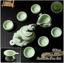 10pcs Rare China Song Ding Yao Porcelain Teaset,Chinese Ding Kiln Sky Cyan Teapot&Justice Cup&6 Teacups,Ceramics Tea Set DY003-7