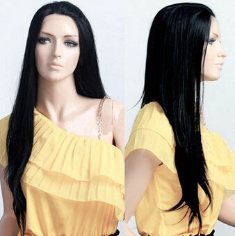 bjc 001989 Lace Front Wig Long Black Straight Silky Weave Synthetic Hair Party Full Wig<br><br>Aliexpress