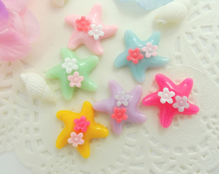 1pair Star Heart Printing Candy Color Plastic Baby Girl Star With Flowers Hairpin Hair Clips Kids Hair Accessories(China (Mainland))