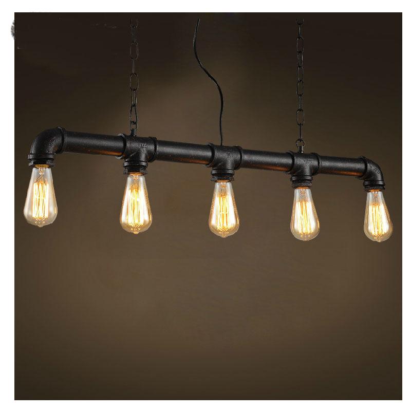 Здесь можно купить  Edison Personalized bar Lighting counter lamps vintage pendant lights water pipe pendant lamp for Warehouse 5pcs E27 bulbs  Свет и освещение