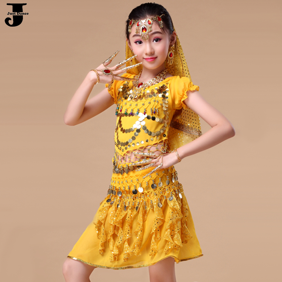 2016 Girls Belly Dance Costume Set 5 Pcs Kids Indian Dance Costumes Children Vestido Indiano Clothing For Belly Dancing DQ2019(China (Mainland))