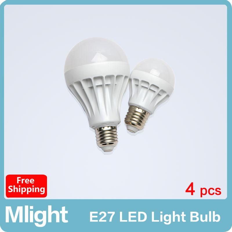 4 pcs Led Light Bulb 220V 3W 5W 7W 9W 12W E27 Lighting Light Plastic Lamp Bulbs Free Shipping(China (Mainland))